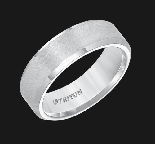 7mm White Tungsten Carbide Bevel Edge Comfort Fit Band with Satin Center Finish