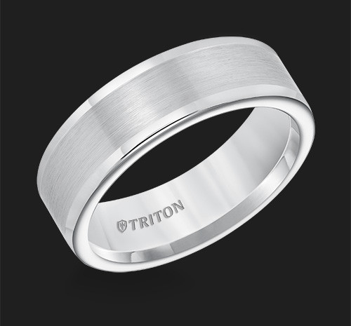 7mm Flat White Tungsten Carbide Round Edge Comfort Fit Band with Satin Center Finish