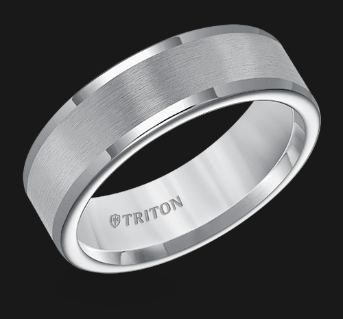 7mm Flat Gray Tungsten Carbide Round Edge Comfort Fit Band with Satin Center Finish
