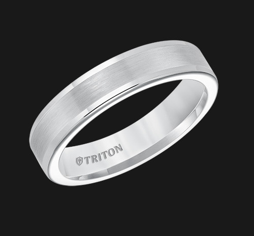5mm Flat White Tungsten Carbide Round Edge Comfort Fit Band with Satin Center Finish