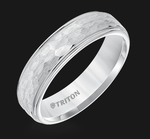 6mm White Tungsten Carbide Step Edge Comfort Fit Band with Satin Hammer Texture