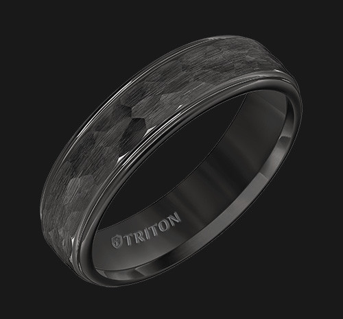 6mm Black Tungsten Carbide Step Edge Comfort Fit Band with Satin Hammer Texture