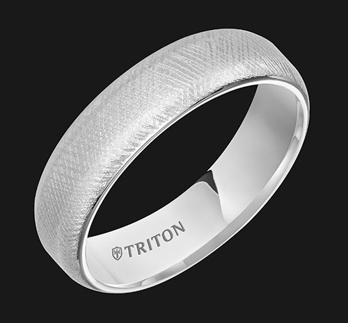6mm White Tungsten Soft Bevel Edge Comfort Fit Band with Florentine Finish