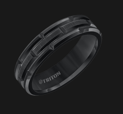 6mm Black Tungsten Carbide Comfort Fit Band with Cut Brick Motif with Satin Center Finish