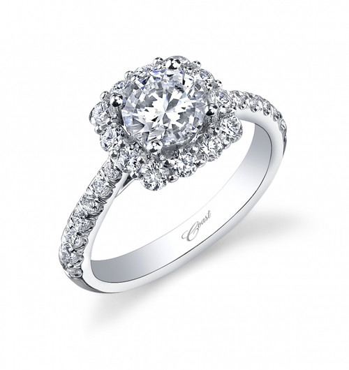 Cushion Halo Engagement Ring Setting (0.78ctw)