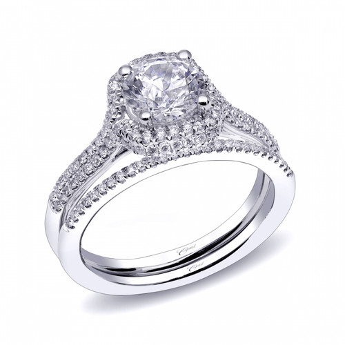 Cushion Double Halo Engagement Ring Setting (0.35ctw) with matching Wedding Band