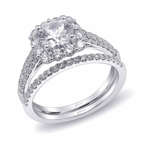 Cushion Halo Engagement Ring Setting (0.68ctw) with matching Wedding Band