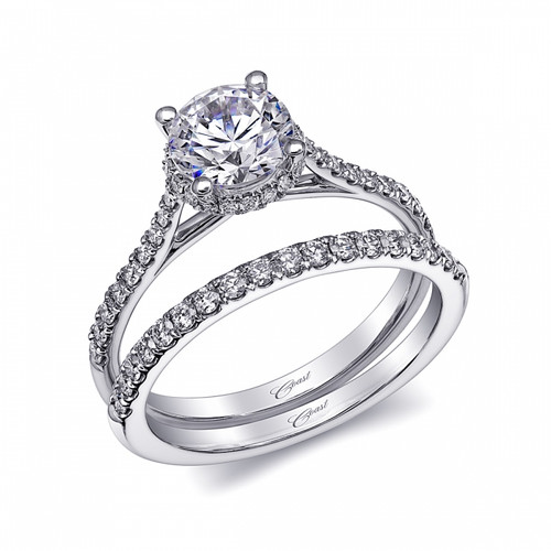 Round Halo Engagement Ring Setting (0.24ctw) with matching Wedding Band