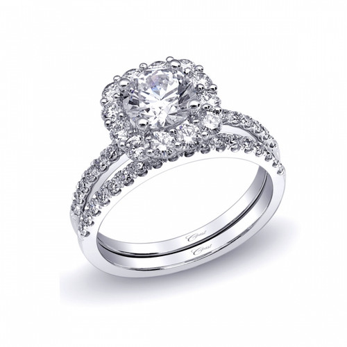 Cushion Halo Engagement Ring Setting (0.78ctw) with matching Wedding Band