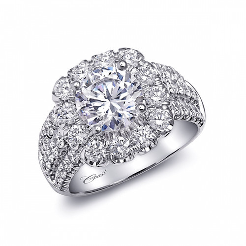 Cushion Halo Bold Three Row Engagement Ring Setting (1.69ctw)