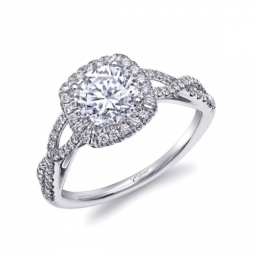 Cushion Halo Braided Shank Engagement Ring Setting (0.30ctw)