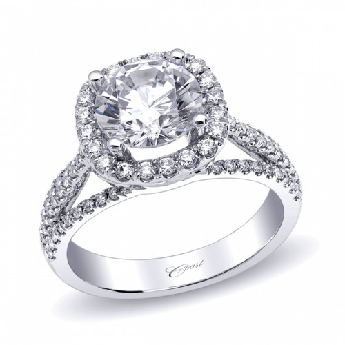 Cushion Halo Split-Shank Engagement Ring Setting (0.48ctw)