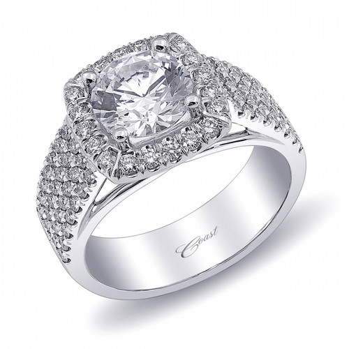 Cushion Halo Four Row Engagement Ring Setting (0.77ctw)