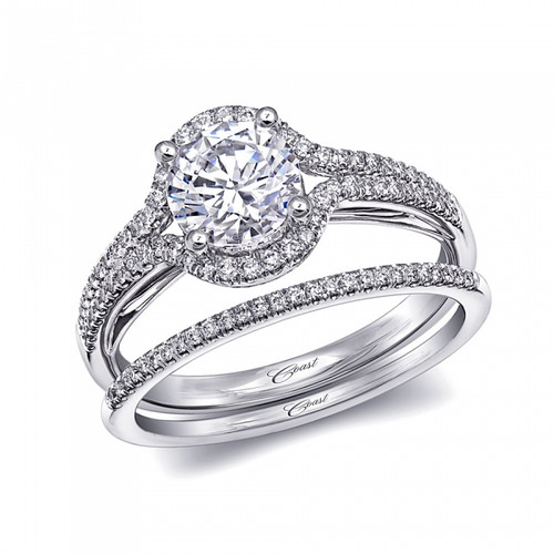 Unique Halo Double Row Engagement Ring Setting (0.22ctw) with matching Wedding Band
