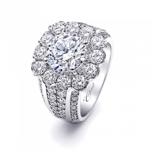 Cushion Halo Bold Four Row Engagement Ring Setting (2.40ctw)