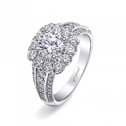 Cushion Halo Bold Three Row Engagement Ring Setting (0.92ctw)