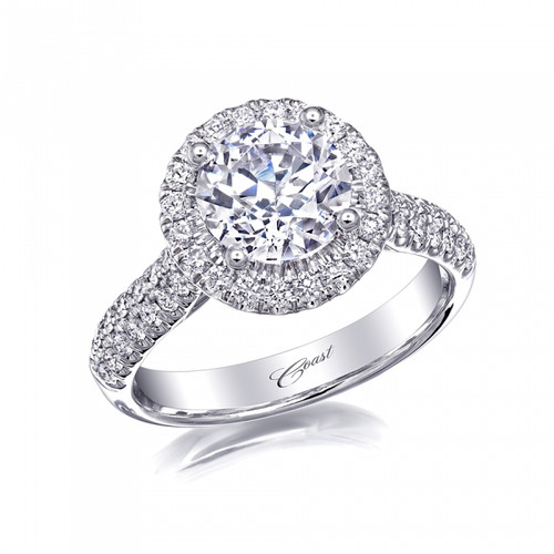 Round Halo Double Row Engagement Ring Setting (0.60ctw)