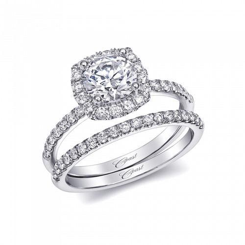 Cushion Halo Engagement Ring Setting (0.37ctw) with matching Wedding Band