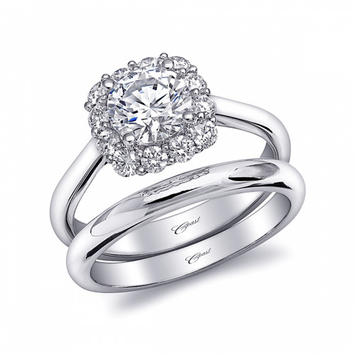 Cushion Halo Engagement Ring Setting (0.46ctw) with matching Wedding Band