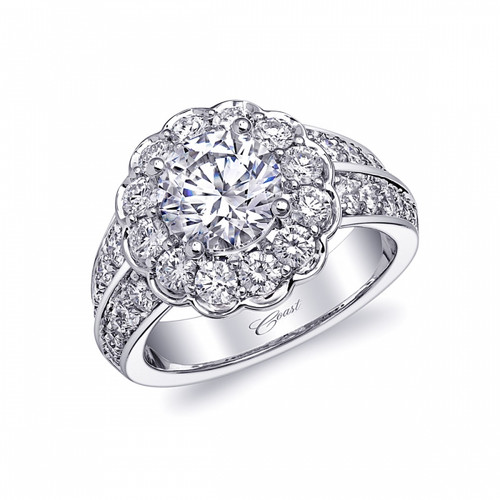 Round Flower Halo Double Row Engagement Ring Setting (1.45ctw)
