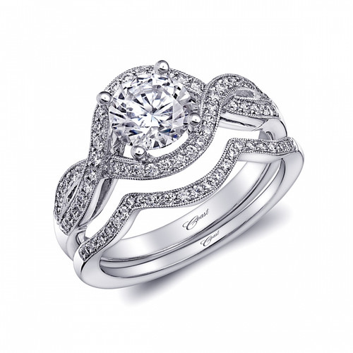 Unique Halo Braided Milgrain Engagement Ring Setting (0.26ctw) with matching Wedding Band
