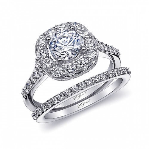Cushion Halo Milgrain Engagement Ring Setting (0.83ctw) with matching Wedding Band
