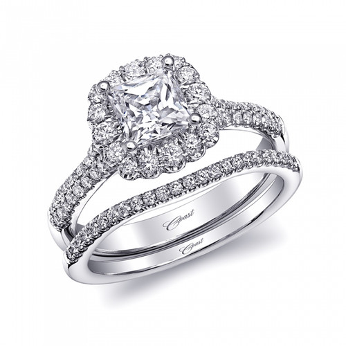 Cushion Halo Double Row Engagement Ring Setting (0.44ctw) with matching Wedding Band