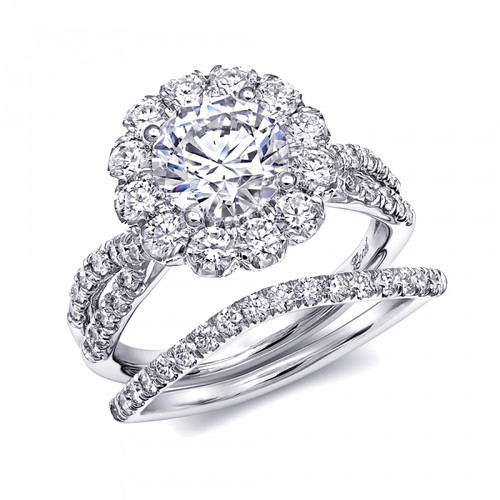 Round Halo Split-Shank Engagement Ring Setting (1.15ctw) with matching Wedding Band