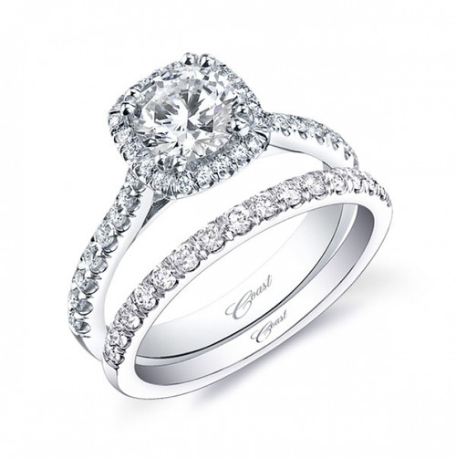 Cushion Halo Engagement Ring Setting (0.35ctw) with matching Wedding Band
