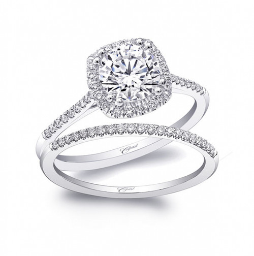 Cushion Halo Petite Engagement Ring Setting (0.17ctw) with matching Wedding Band