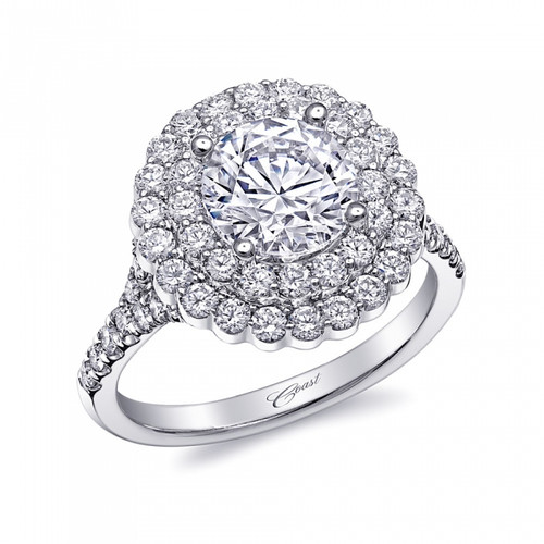 Round Double Halo Split-Shank Engagement Ring Setting (1.05ctw)