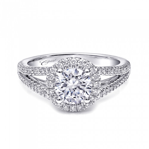 Round Halo Split-Shank Engagement Ring Setting (0.37ctw)