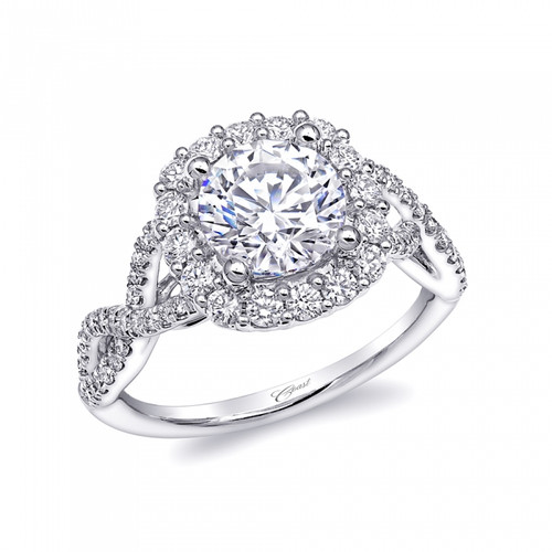 Cushion Halo Braided Shank Engagement Ring Setting (0.64ctw)