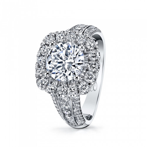 Cushion Halo Bold Three Row Engagement Ring Setting (1.00ctw)