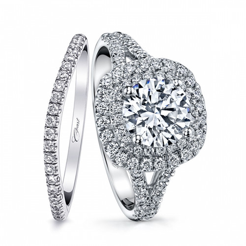 Cushion Double Halo Split-Shank Engagement Ring Setting (0.53ctw) with matching Wedding Band