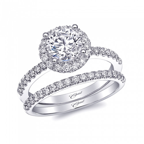 Round Halo Engagement Ring Setting (0.32ctw) with matching Wedding Band
