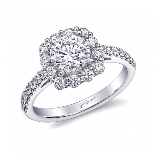 Cushion Halo Engagement Ring Setting (0.67ctw)