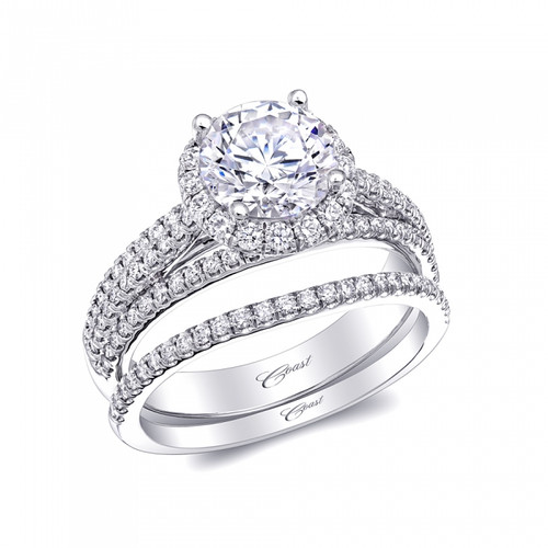 Round Halo Split-Shank Micro Pave Engagement Ring Setting (0.60ctw) with matching Wedding Band