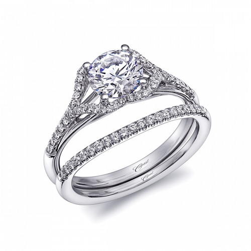 Unique Halo Split-Shank Engagement Ring Setting (0.18ctw) with matching Wedding Band