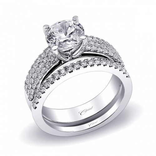 Three Row Micro Pave Engagement Ring Setting (0.47ctw) with matching Wedding Band