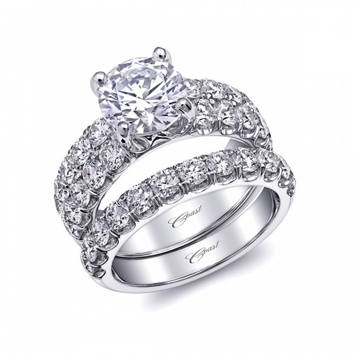 Fishtail Double Row Engagement Ring Setting (1.53ctw) with matching Wedding Band