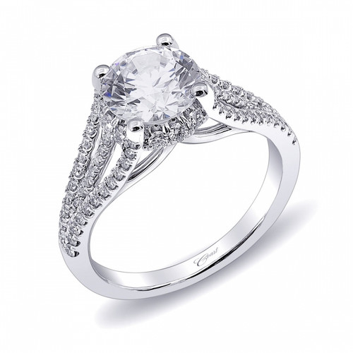 Unique Round Halo Split-Shank Engagement Ring Setting (0.48ctw) with matching Wedding Band