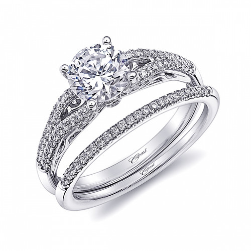 Split-Shank Engagement Ring Setting (0.19ctw) with matching Wedding Band