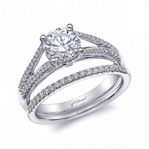 Split-Shank Engagement Ring Setting (0.20ctw) with matching Wedding Band