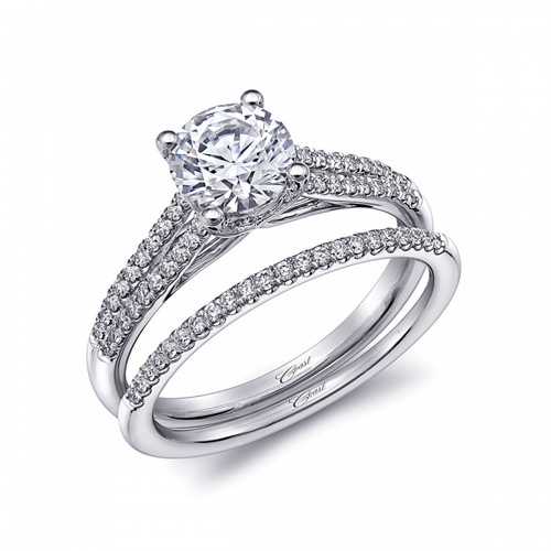 Split-Shank Engagement Ring Setting (0.23ctw) with matching Wedding Band