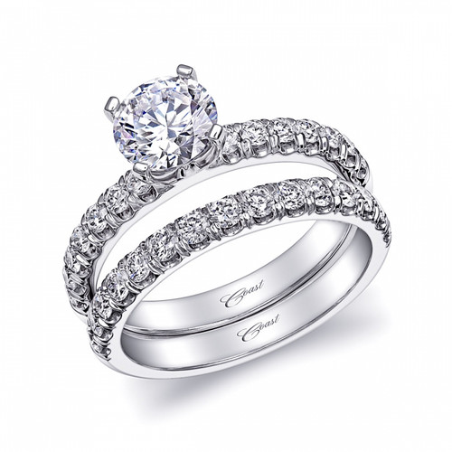 Fishtail Engagement Ring Setting (0.34ctw) with matching Wedding Band