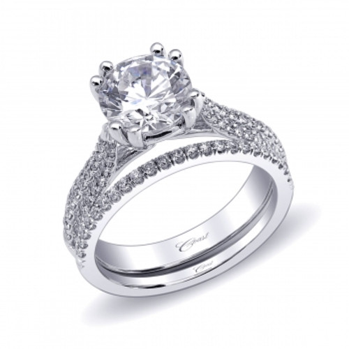 Fishtail Three Row Engagement Ring Setting (0.33ctw) with matching Wedding Band