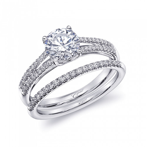 Split-Shank Engagement Ring Setting (0.16ctw) with matching Wedding Band