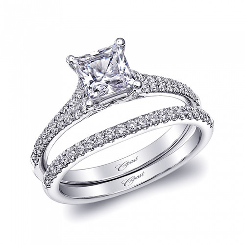 Split-Shank Engagement Ring Setting (0.55ctw) with matching Wedding Band