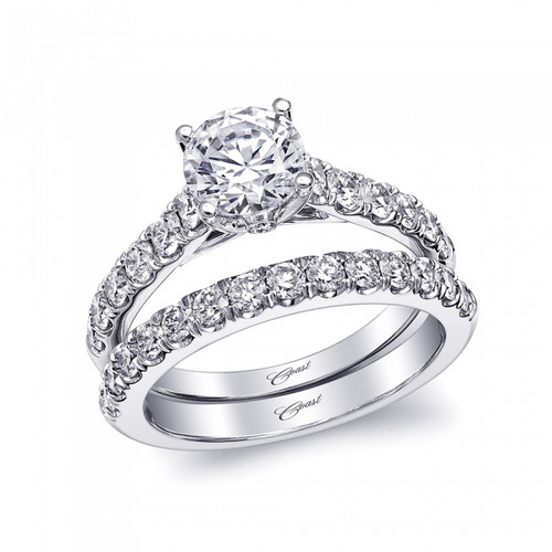 Fishtail Engagement Ring Setting (0.66ctw) with matching Wedding Band